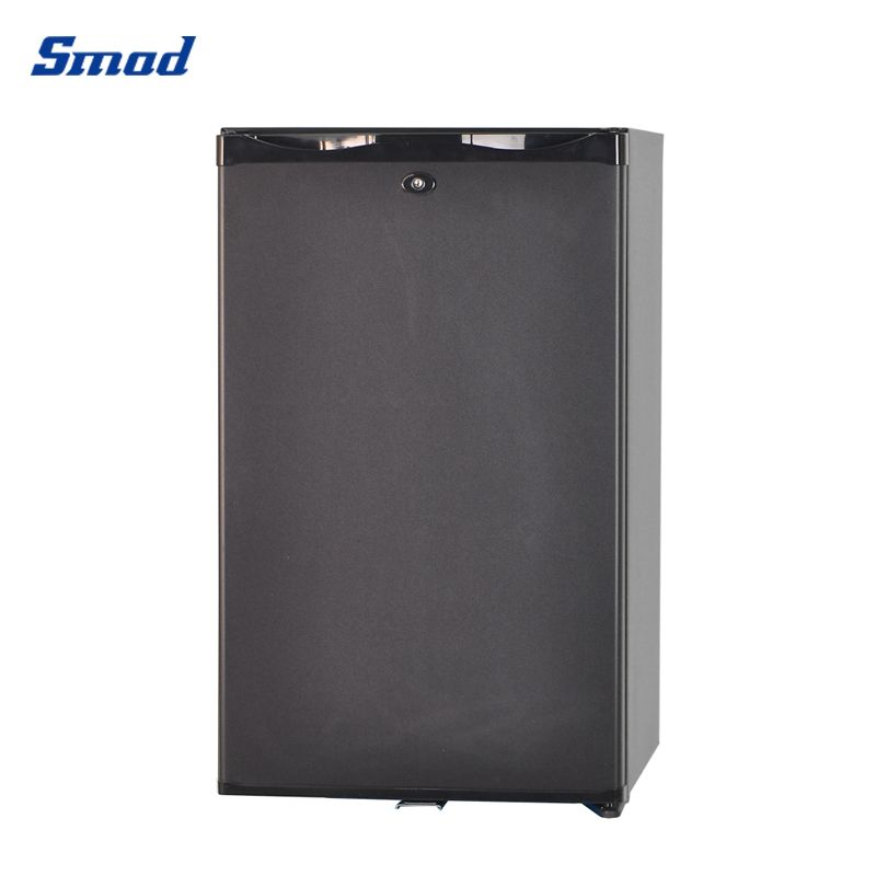 Smad 12V absorption no noise single door hotel refrigerator black color and with lock