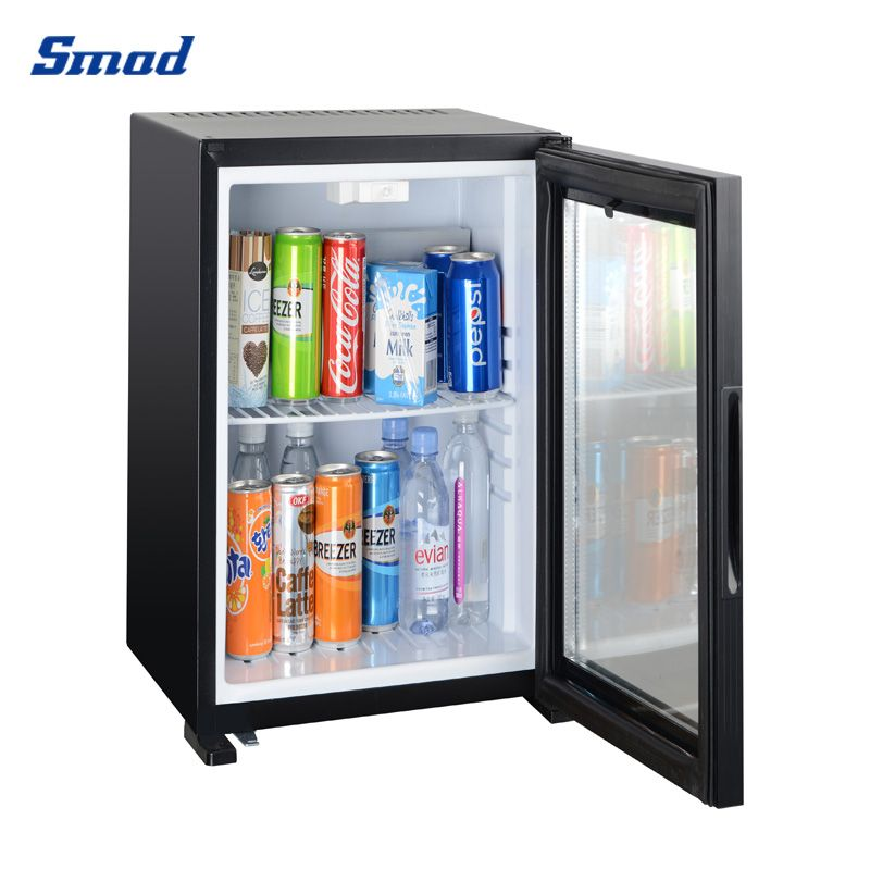 Smad quiet glass door 50L mini absorption refrigerator cooler for drinks counter top