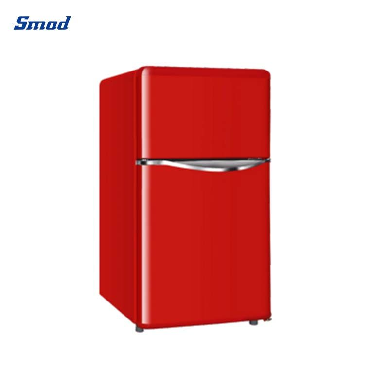 Smad 138L top freezer red vintage retro refrigerator with recessed handle