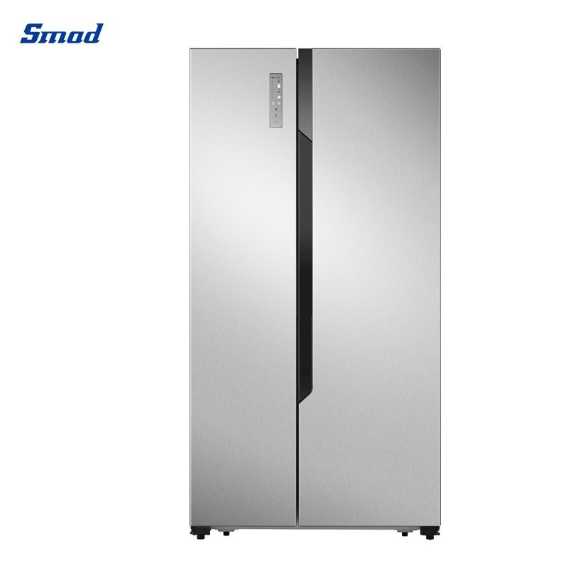Smad CE 570L stainless steel side by side refrigerator total no frost and flat door with Recessed handle