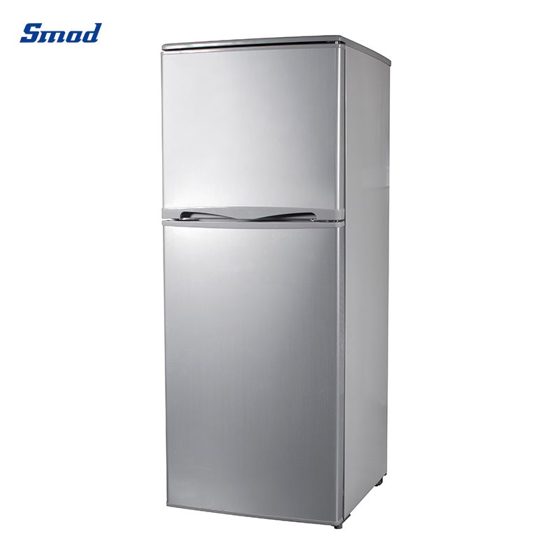 Smad 138L mini double door refrigerator with stainless steel exterior.