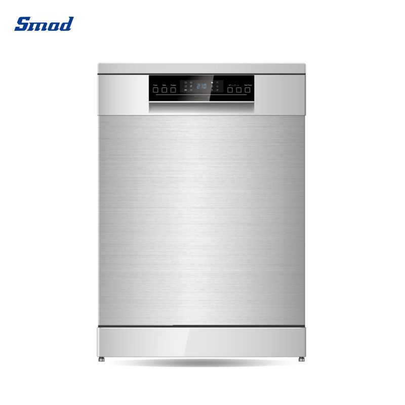 The freestanding dishwasher machine has stainless steel exterior in Smad .