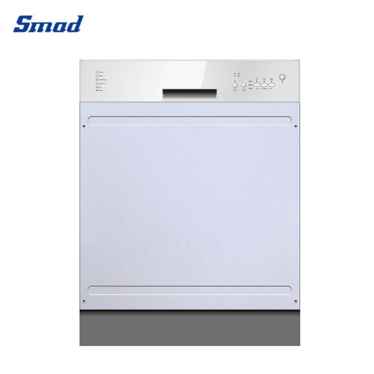 The dishwasher in cabinet has stainless steel exterior in Smad .