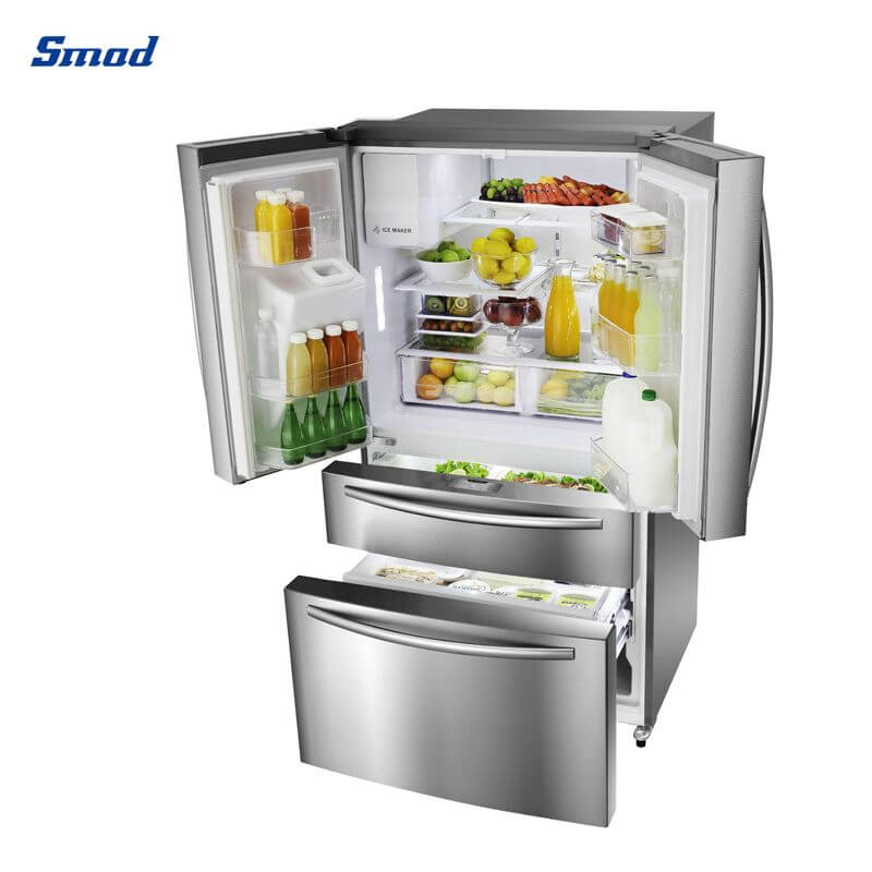 Smad best french door refrigerator with high quality and stainless steel with ice maker