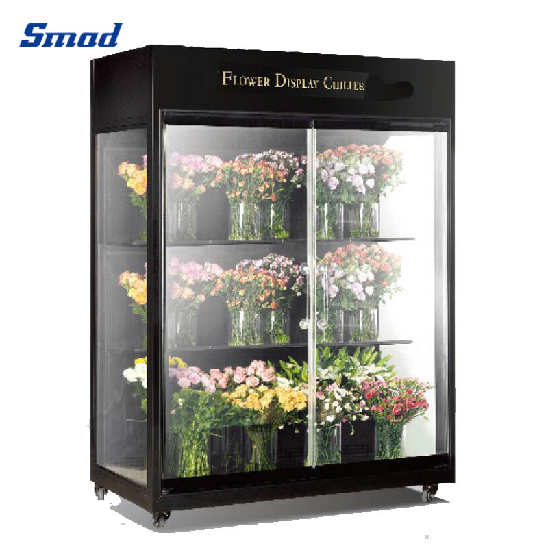 Smad wholesale glass display showcase chiller showcase for fresh flower glass door