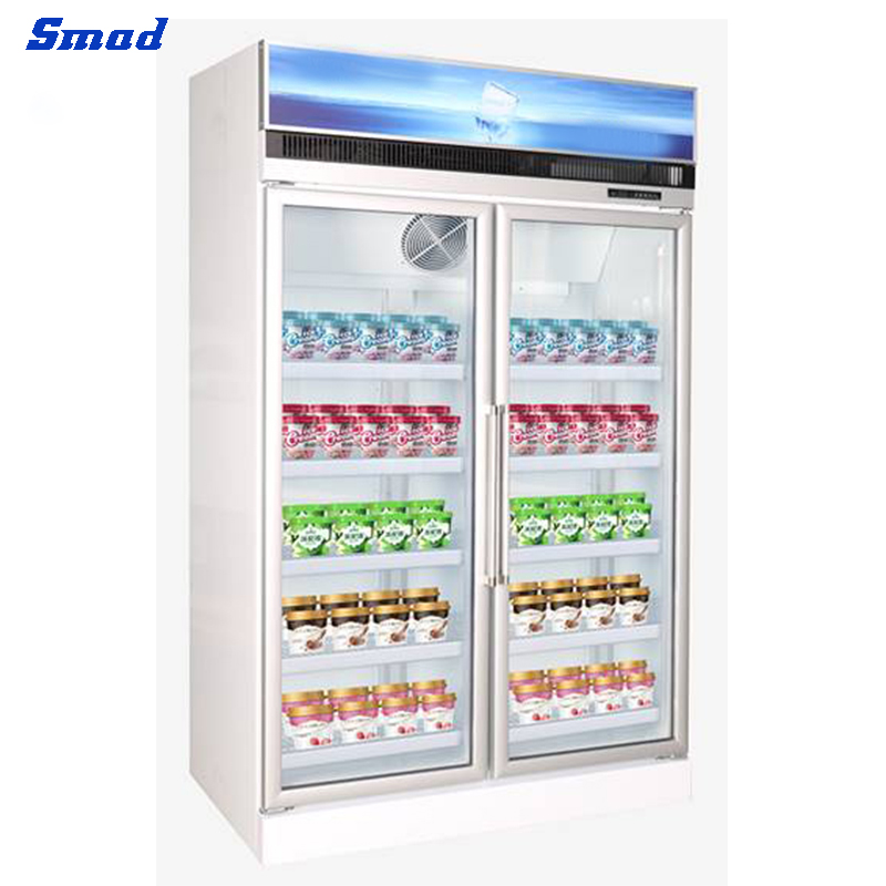Smad 2 door plug-in upright display freezer supermarket ice cream showcase refrigerator automatic defrost